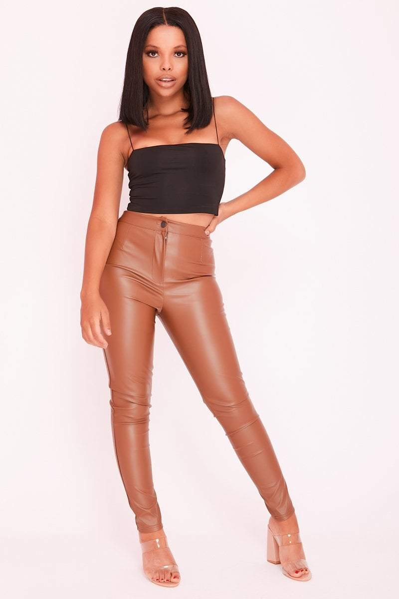 Brown Faux Leather High Waist Slim Fit Trousers - KATCH ME
