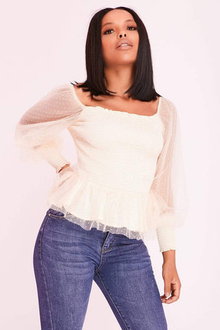 Blue Cold Shoulder Puff Sleeve Hook & Eye Corset Top
