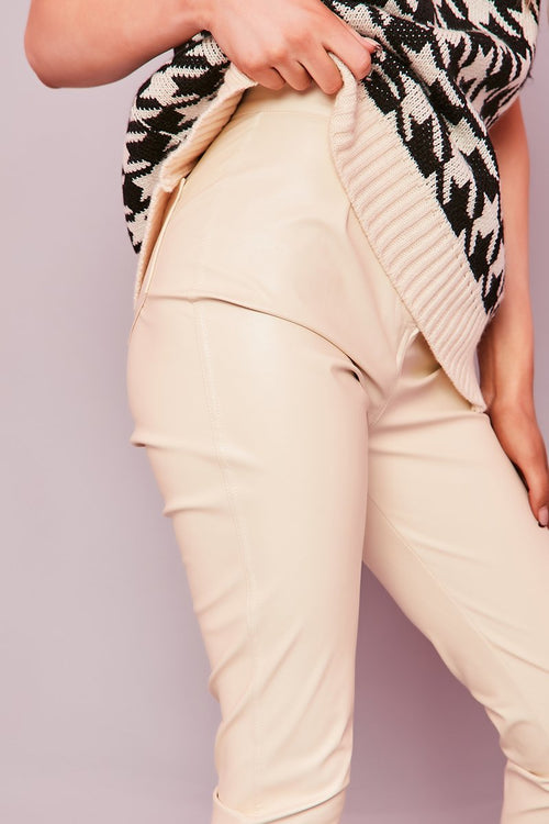 Cream Faux Leather Trousers- Alecia - KATCH ME