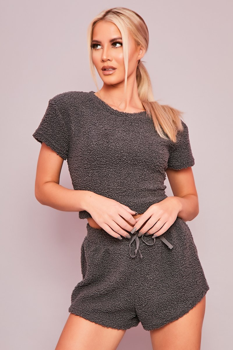 Grey Teddy Co-Ord Set - Dasha - KATCH ME