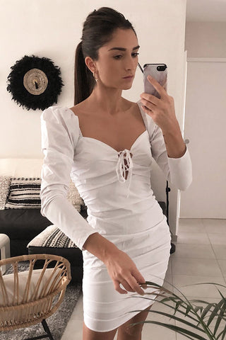 White Ruched Bardot Mini Dress