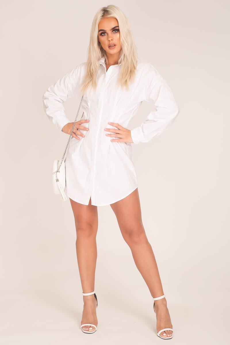 White Cinch Waist Shirt Dress