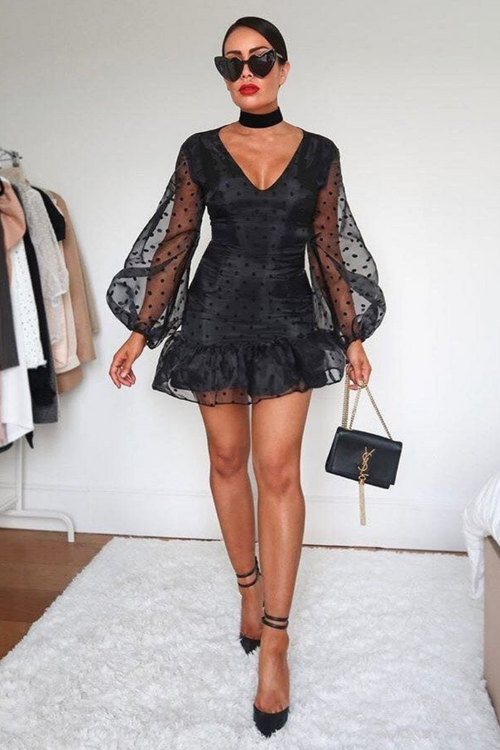 Black Dobby Mesh Balloon Sleeve Dress