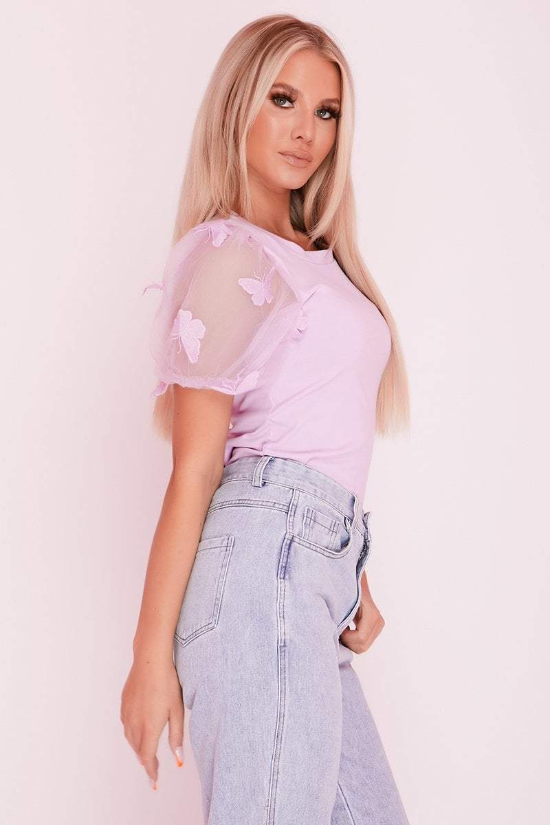 Lilac Mesh Butterfly Embellished Puff Sleeve Top- Stella -