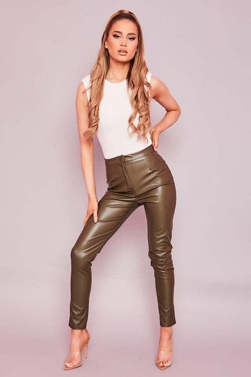 Olive Green Faux Leather Trousers- Alecia - KATCH ME