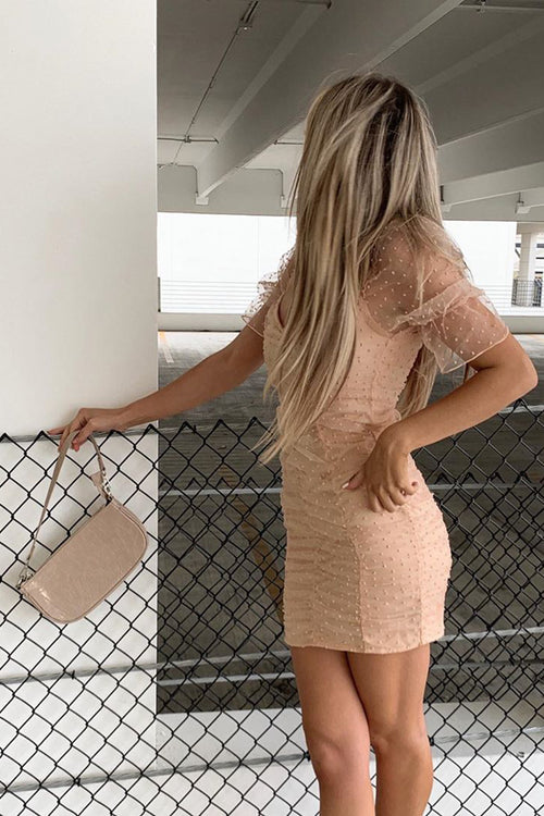 Nude Dobby Mesh Bodycon Dress