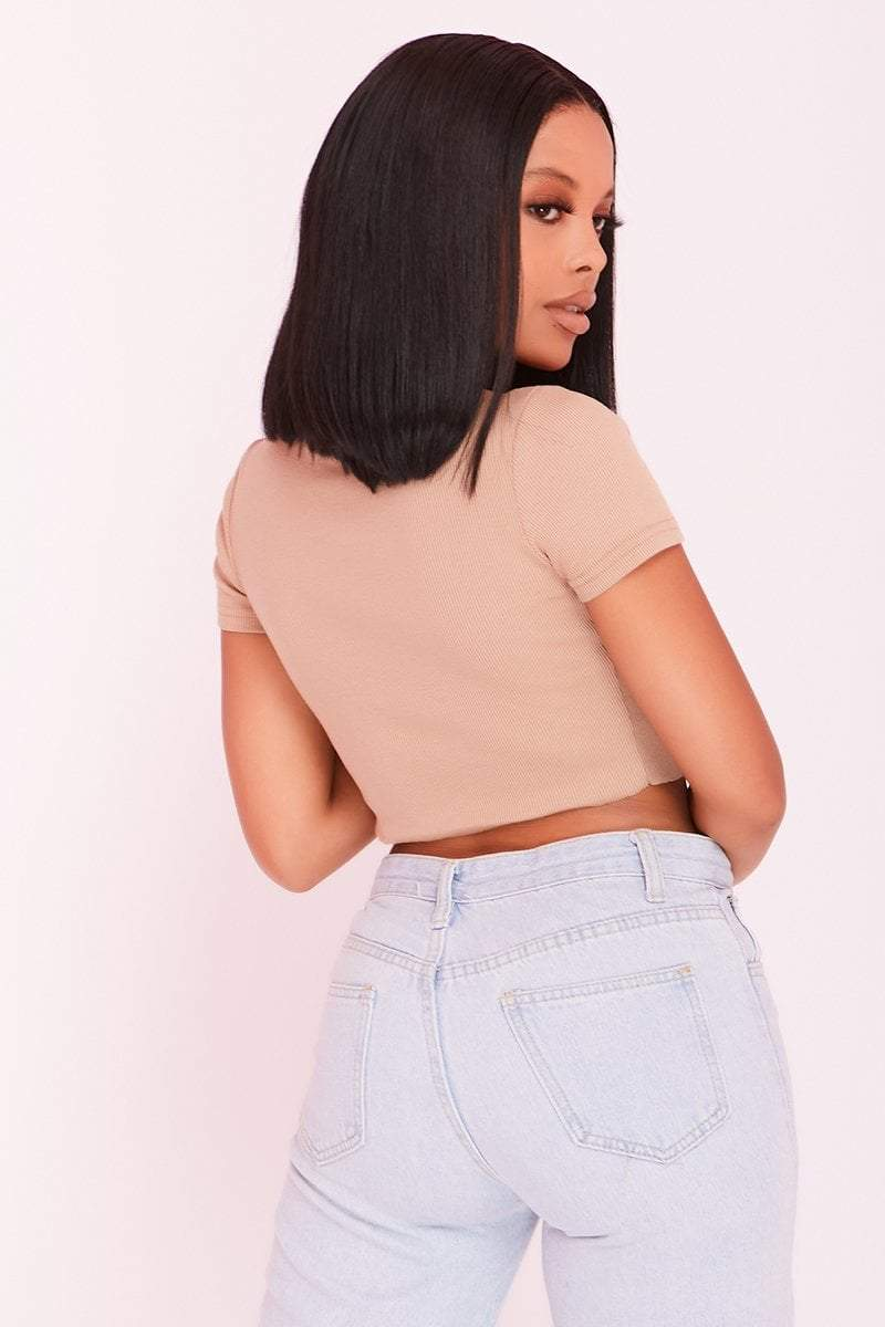 Sand Button Front Short Sleeve Crop Top- Aria - Top