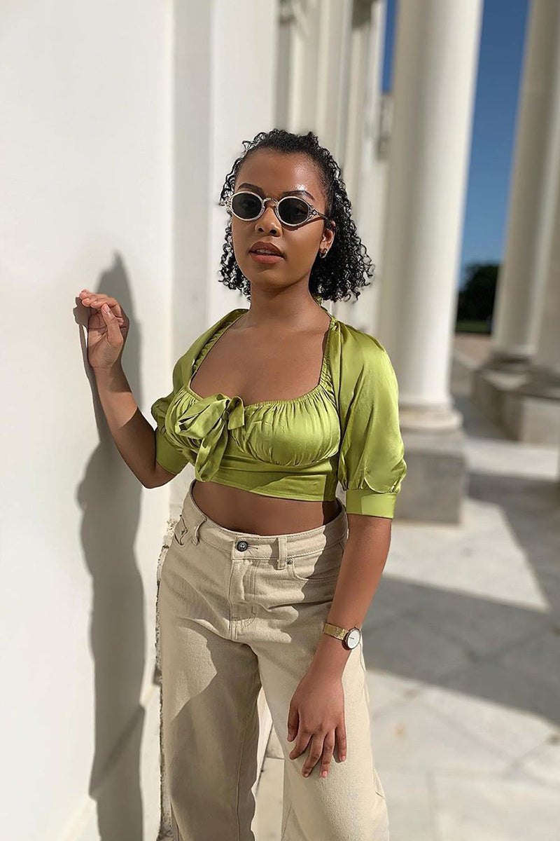 Green Satin Milkmaid Square Neck Crop Top