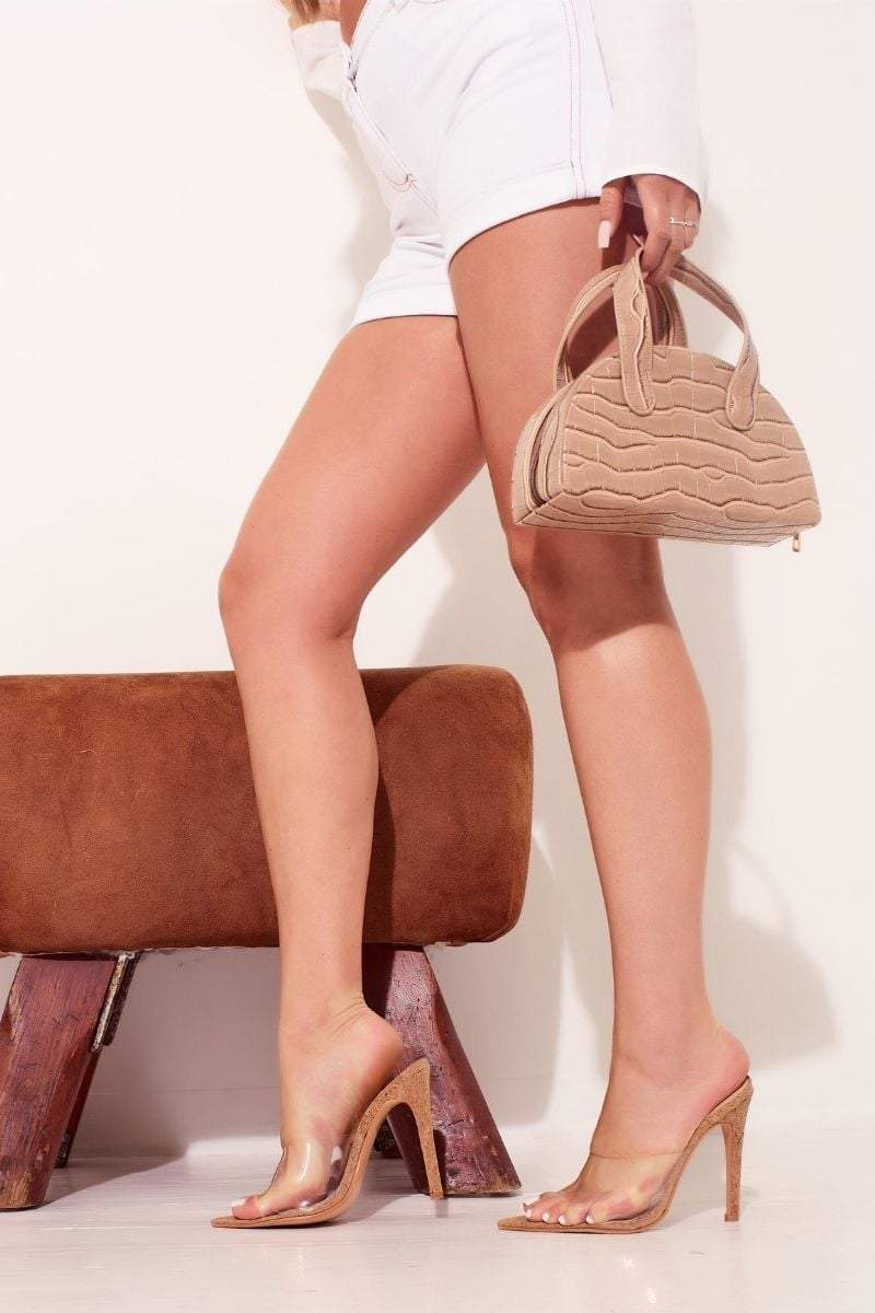 Tan cork perspex peep toe heels- bettina