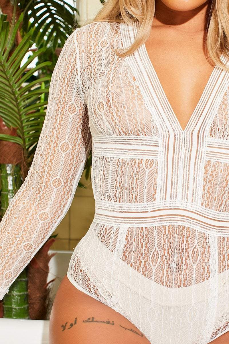 White Long Sleeved Sheer Bodysuit - Kenna - KATCH ME