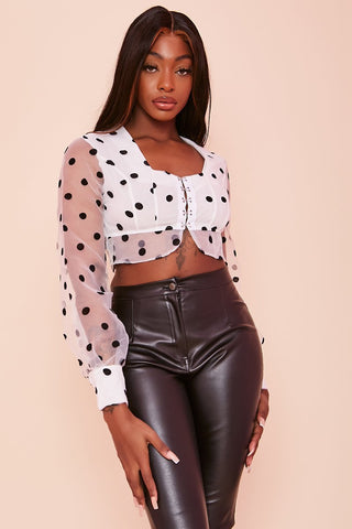 Black Polka Dot Hook & Eye Mesh Crop Top