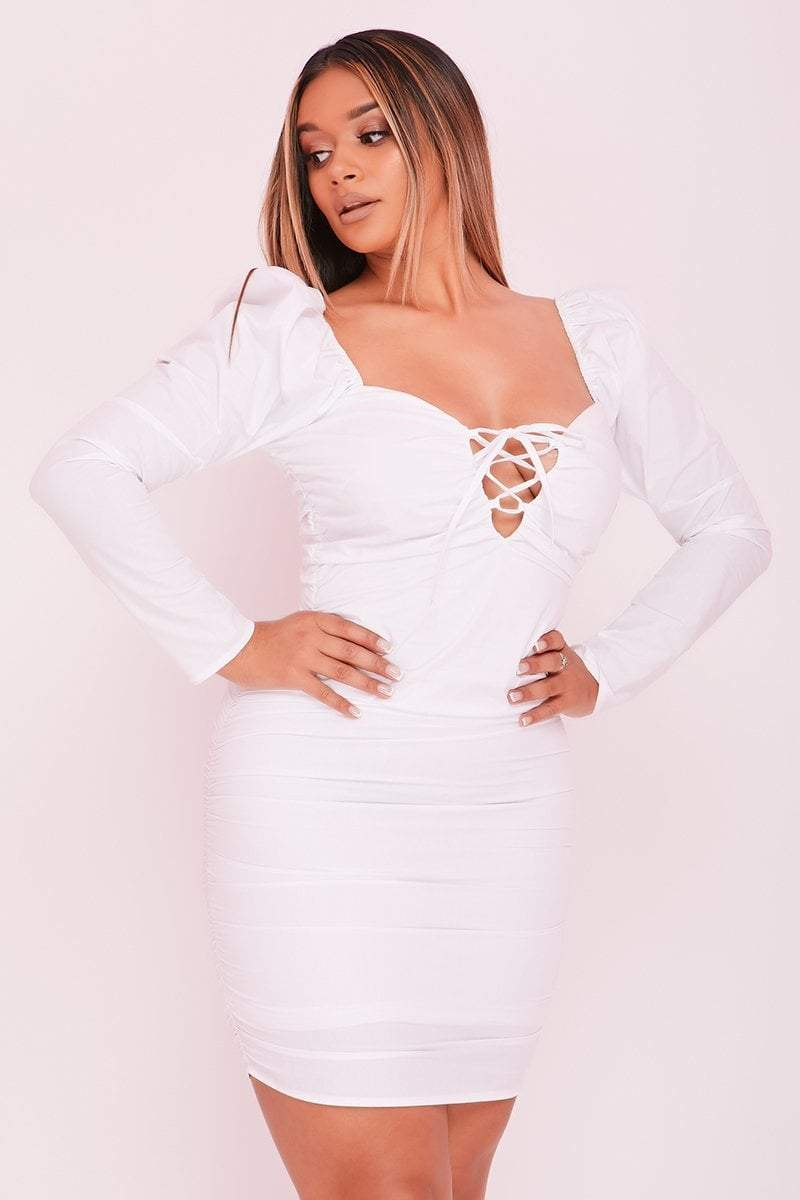 White Ruched Lace Up Bodycon Puff Sleeve Dress- Serenity -