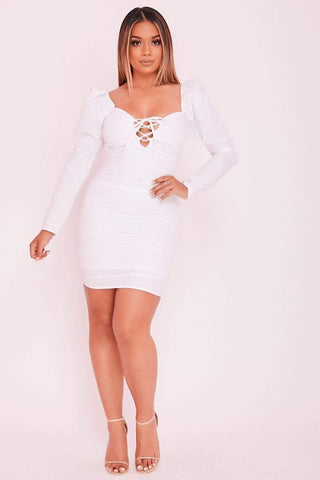 Cream Long Sleeve Ruched Dress