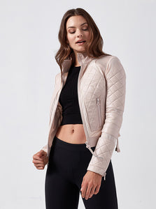 Leather Mesh Moto Jacket