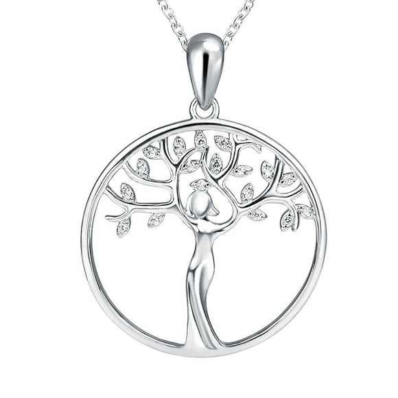 Unique Goddess Tree Round Pendant Necklace (Genuine 925 Sterling Silver) - Love Touch Jewelry