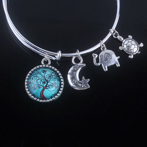 Tree Of Life Adjustable Charms Bangle - Love Touch Jewelry