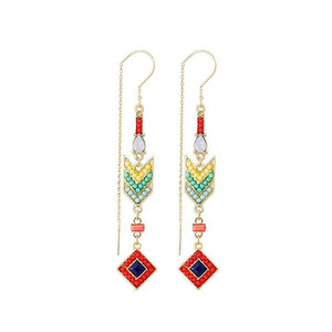 Handmade Trendy Ethnic Geometric Colorful Bead Long Dangle Earrings - Love Touch Jewelry