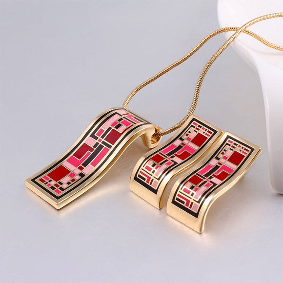 Red Elegant Classic Enamel Dubai Gold Jewelry Sets