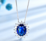 Princess Blue Sapphire Silver Necklace - Love Touch Jewelry