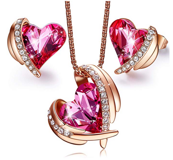 Pink Angel Swarovski Heart Pendant Necklaces and Stud Earrings Jewelry Sets