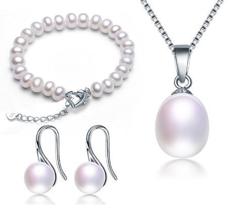 925 Sterling Silver Natural Freshwater Pearl Jewelry Sets - Love Touch Jewelry