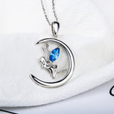 Crescent Moon Fairy Pendant Necklace (Genuine 925 Sterling Silver) - Love Touch Jewelry