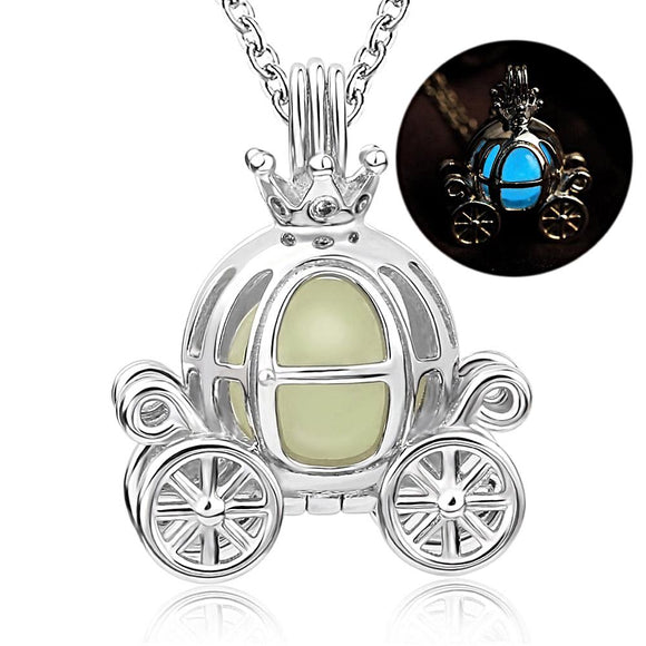 Glow In The Dark Pumpkin Carriage Pendant Necklace (Genuine 925 Sterling Silver) - Love Touch Jewelry