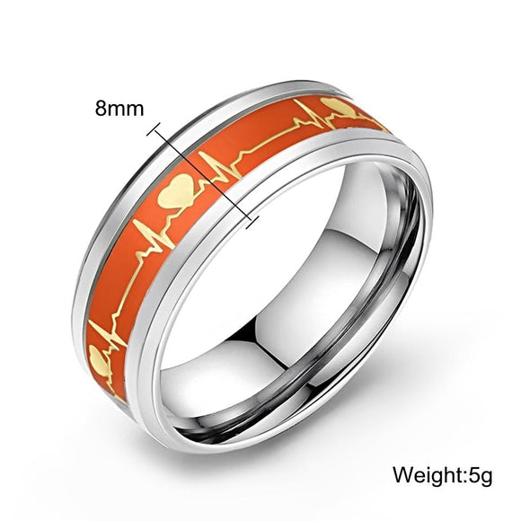 Dark Luminous ECG Heartbeat Glowing Stainless Steel Ring Jewelry  - Love Touch Jewelry