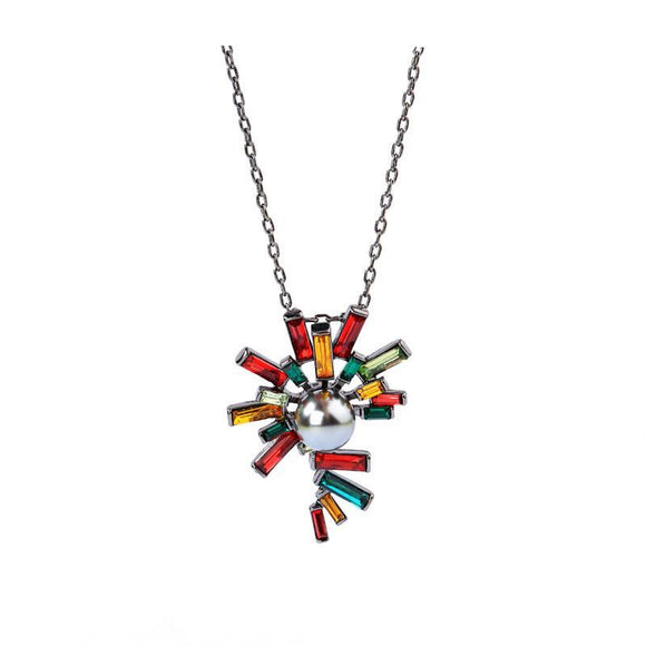 Bohemian Colorful Crystal Pendant Necklace - Love Touch Jewelry