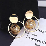 Handmade Bold Geometric Ball Dangle Statement Earrings - Love Touch Jewelry