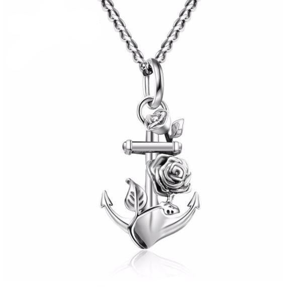 Anchor & Flower Pendant Necklace  (AAAA Genuine 925 Sterling Silver) - Love Touch Jewelry