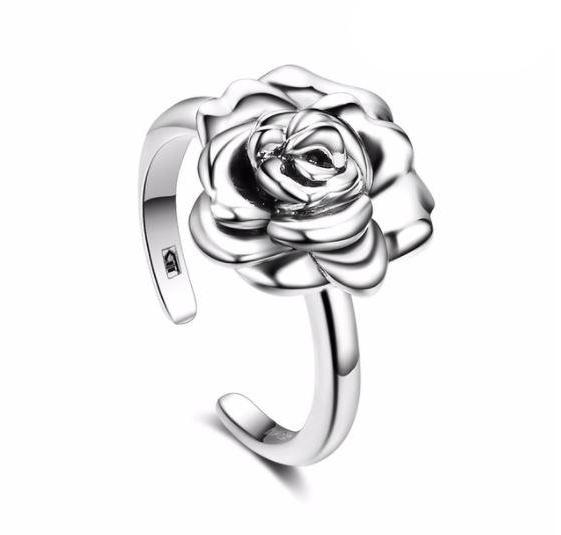 Elegant Rose Adjustable Ring (AAAA Genuine 925 Sterling Silver) - Love Touch Jewelry