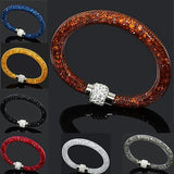 Multicolor Clay Crystal Magnetic Clasp Mesh Bracelet  - Love Touch Jewelry
