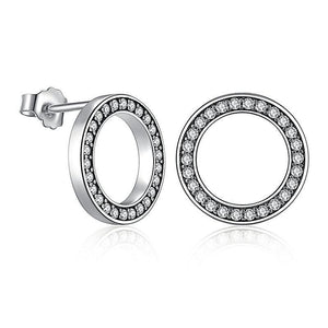 Elegant Radiant Circle Stud Earrings (Genuine 925 Sterling Silver) - Love Touch Jewelry