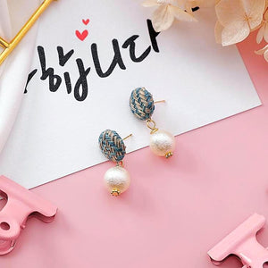 Handmade Classic Cotton Warm Woolen Pearl Earrings - Love Touch Jewelry