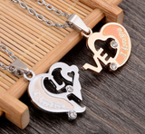 I Love You Letter Double Heart Couple Necklace - Love Touch Jewelry