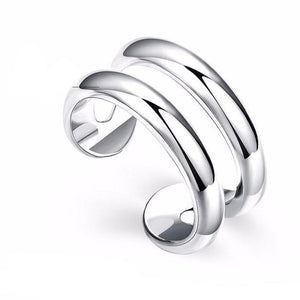 Double Silver Plated Fashion Adjustable Ring - Love Touch Jewelry