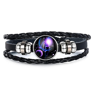 Zodiac Glass Metal Buckle Charm Constellation Jewelry Black Weave Multilayer Leather Bracelet - Love Touch Jewelry