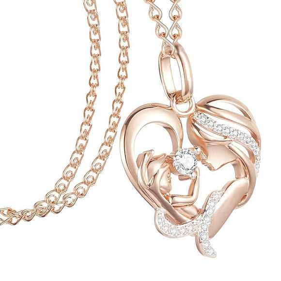 Mother Baby Heart 585 Rose Gold Cubic Zircon Pendant Necklace - Love Touch Jewelry