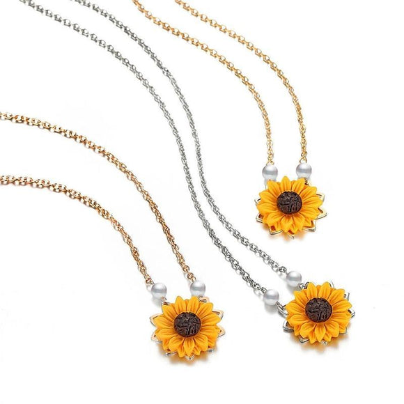 Mini Sunflower Pendant Necklace - Love Touch Jewelry
