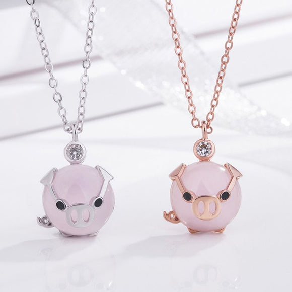 Rose Gold Lucky Pig Necklace - Love Touch Jewelry