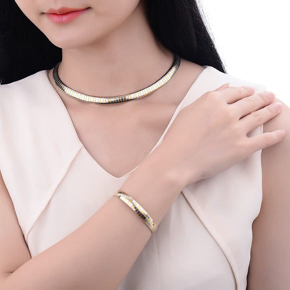316L Stainless Steel Snake Chain Choker Necklace and Bracelet Jewelry Sets - Love Touch Jewelry