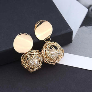 Handmade Geometric Ball Dangle Statement Earrings - Love Touch Jewelry