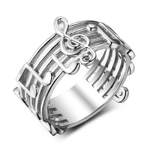 Musical Note Band Ring (Genuine 925 Sterling Silver) - Love Touch Jewelry