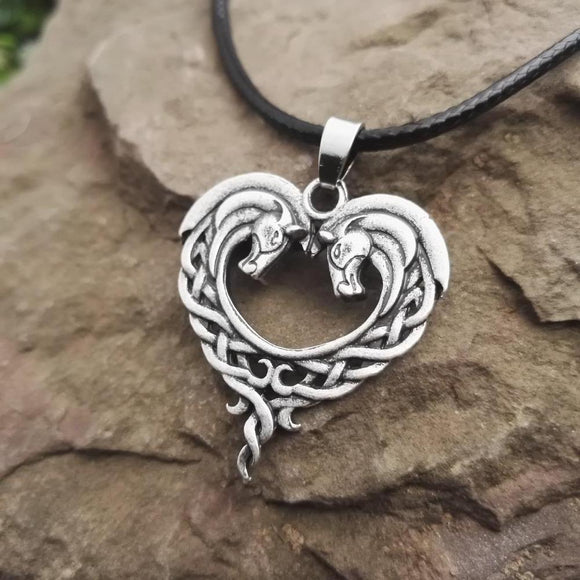 Celtic Heart Horse Pendant Necklace - Love Touch Jewelry