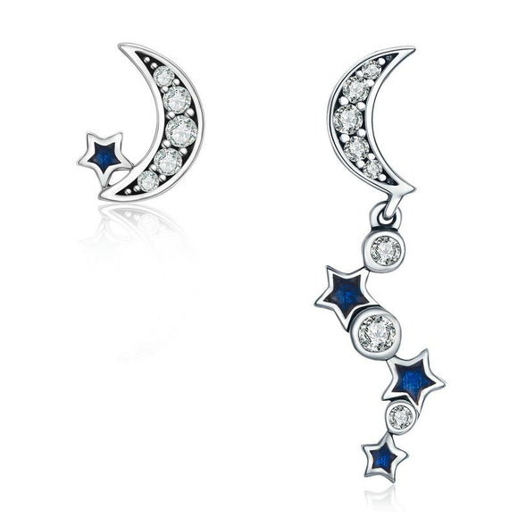 Crescent Moon & Star Crystal Stud Earrings (Genuine 925 Sterling Silver) - Love Touch Jewelry