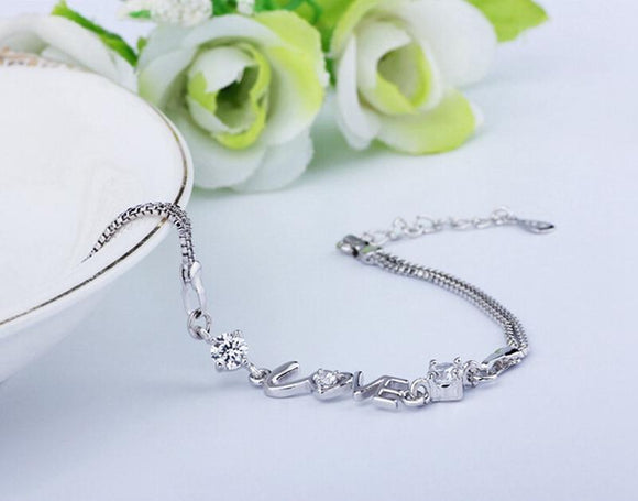LOVE Charm Cubic Zirconia 925 Sterling Silver Bracelet Bangle - Love Touch Jewelry
