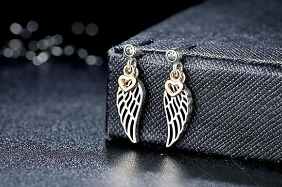 Love & Guidance Feather Drop Earrings (925 Sterling Silver) - Love Touch Jewelry