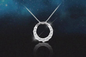 Shiny Zircon Crystal Circle Pendant Necklaces (925 Sterling Silver) - Love Touch Jewelry