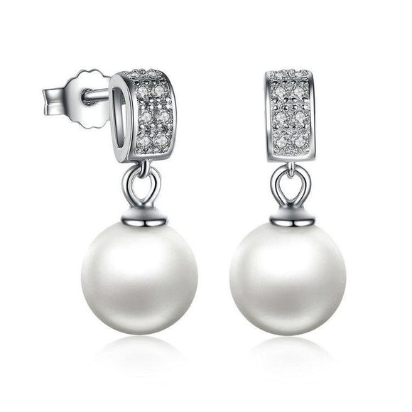 Dangling Pearl Earrings (Genuine 925 Sterling Silver) - Love Touch Jewelry